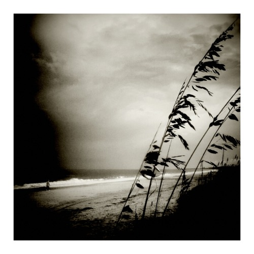 "A little stormy afternoon at the beach. Taken with my ""digital holga."" ps- If you click on this link, you can purchase a canvas print to help distract you while you work diligently at your desk. :)"