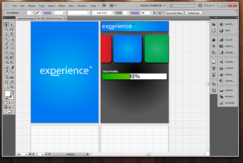 This is 25% into a design contest I entered for Experience, which is a website for college students looking for entry-level jobs. We were asked to come up with ideas for a mobile (iPhone) application which we would thought would appeal to it's clients — college students such as myself. I felt the need to keep it simple, as Apple would, in functionality (swiping and clean transitions from page-to-page), but also making sure it was just as helpful and usable as the desktop version.