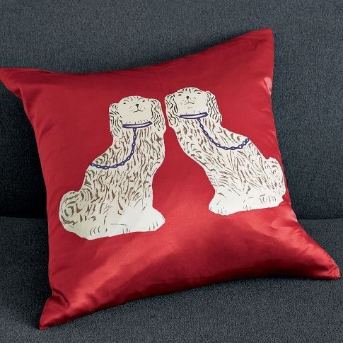 I just ordered two of these pillow covers and am pretty excited about it.  I know you shouldn't buy gifts for yourself before the holidays, but why does everything cute have to go on sale before the holidays?  It's counter-intuitive!  Anyway, they are a little ridiculous, thus making me happy.  Everyone needs something that makes them smile! Source: westelm.com