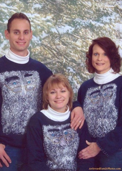 """shesagoodegg:  Nothing says happy holidays like awkward family photos. I will never tire of the bizarre ideas humanity chooses to document and share with their friends & family. The above one is probably my favorite of this set of 15. It's just so confusing to me - does this man have two wives? Or two moms? Where do you even get his & her sweatshirts (notice his doesn't have the cute embroidery)? And do people still wear turtlenecks?  Reblogging myself because my friend Heather just posted this on Facebook. Heather & her family saw this family IN REAL LIFE getting this photo taken at (where else?) the J.C. Penney's in Dayton, Ohio. I knew this was midwestern. Heather & her fam all immediately thought """"awkward family photo"""" and here it is. On the internets. Amazing. The world is so small. Oh, and Heather thinks the lady on the right is the mom of these two. I don't know about your family, but I would be creeped out if my brother touched me like that."""