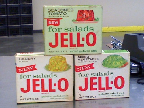 Celery-flavored jell-o?! It gives a whole new meaning to my family's famous Thanksgiving jell-o recipe.