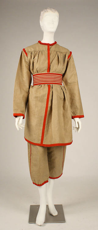 Gym suit, ca 1896 France, the Met Museum The advance of the Industrial Revolution in the 19th century made it so that, for the first time in history, even commoners needed a way to stay in shape.  Previously, the amount of physical work done throughout the day on the farm was more than enough to keep the pounds off and strengthen muscles, but 12+ hours a day sitting in front of a machine at the factory had negative health effects.  Fitness experts developed tools for both public and private gyms such as the treadmill, the exercise bike and the leg press.  Women were expected to use equipment that didn't cause considerable strain.
