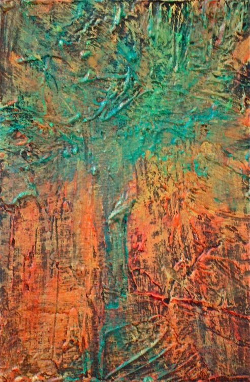 TREE  ABSTRACT :: by taja materials :: melted crayon, acrylic medium, acrylic paint and acrylic ink on canvas board