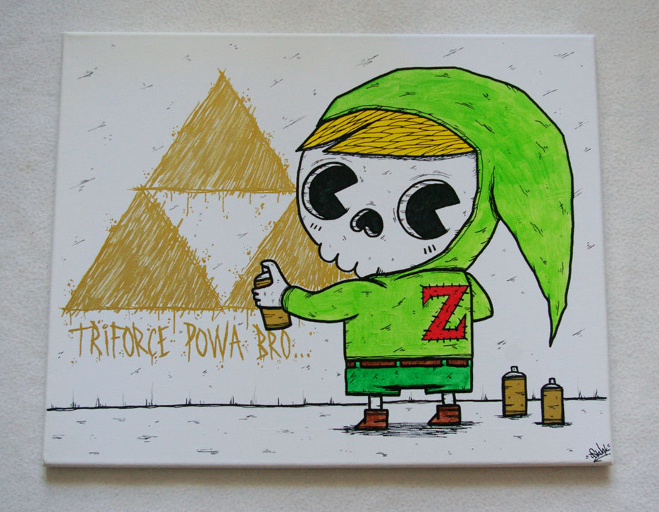 A Little Bit On The OSKUNK Side: A dead little Link graffs up some Triforce power freshness in the latest piece from the one and only OSKUNK. Do hoodies with built-in Link hats exist? Because if not, they totally should.