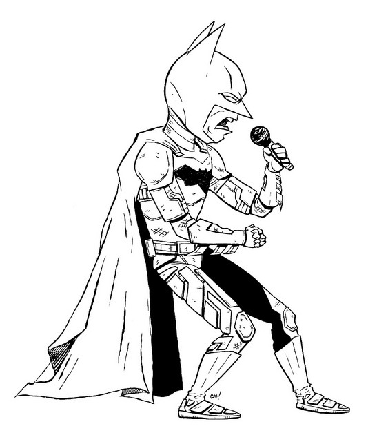 thechrishaleycoloringbook:  The Dark Knight Rocks! Here I have drawn Batman singing a song with some serious feeling for you to color! Perhaps he is doing karaoke. You can print this out (full-sizes here) and color it with crayons or on the computer all fancy like if that's your thing.  Either way is totally fine with me, just be sure to let me know how it turns out by giving me a shout on Twitter or dropping it in the Submissions Box!  As always, sharing is caring, so if you like this or think other people you know might like to color it, reblog it or print it out and give it to them. xoch