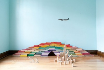 "Literally, a reading rainbow. (""Bookbow"" by artist Paul Octavious / via SwissMiss)"