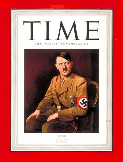 Adolf Hitler: Time Magazine's man of the year for 1938.