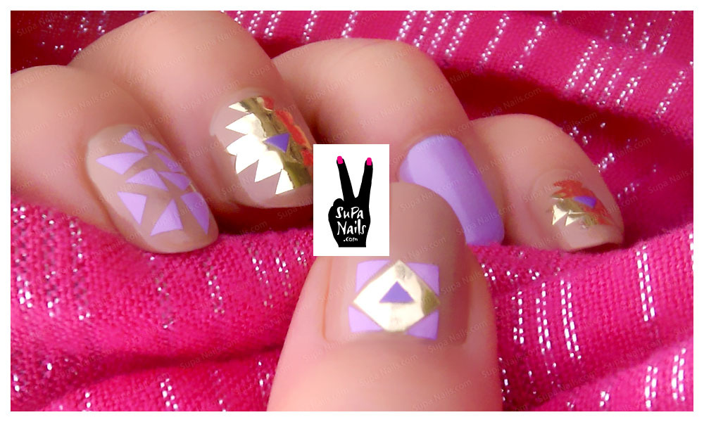 "Glamour Nude Another Supa Nails geometric style with @ANNY_Cosmetic ""326 Pussycat was here"" and a mix of @essiepolish ""705 Lilacism"" and p2 ""045 open your heart"""