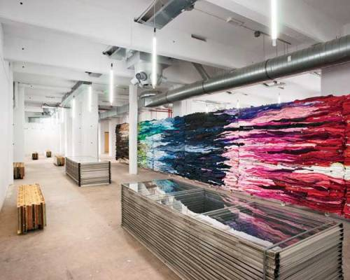 Awesome spaces!  I love this wall of color, and this would be great to incorporate a bold element like this into a current project I am working on.  Great design inspiration! Click the photo and flip through the slide show to see the other photos.