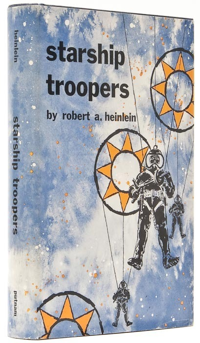 Starship Troopers Heinlein (Robert A.) New York, 1959.  First edition, original cloth, gilt, dust-jacket, small chip to head of lower panel, otherwise a near-fine copy, 8vo,   B-A Note:  I'm really surprised I haven't read this yet.  Always mean to but haven't gotten around to it yet. From the synopses I've read it sounds quite fascinating - representing a social and political dialogue as well as the overt science fiction plot.  The film, of course, was hilariously bad.