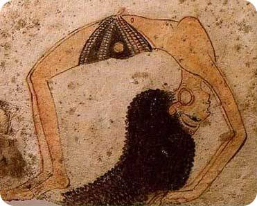 knowledgeequalsblackpower:  Hieroglyphic of a person doing yoga in Ancient Kemet.          Yoga was practiced in Ancient Egypt, North East Africa, for a very long time. Research has indicated that the philosophy of personality integration, or yoga, was practiced in Egypt for about 10,000 years which is a great expanse of time.  The teaching of yoga that was espoused in the country of Egypt was derived from the meditations and insights by the early sage priests and priestesses. Egypt is not the original term for the country. Egypt is a modern term; the original inhabitants of the country called it Kemet, meaning black or the black land, because of the yearly inundation of the Nile River which caused the rich silt to overflow its banks. … Yoga is the practice of binding individual consciousness with universal consciousness. This individual reality that you are experiencing is actually only a small reflection of your true nature and yoga is the practice of how to achieve the knowledge of one's abiding and immortal aspect. In the Kemetic teachings this process of yoga is called Smai Tawi which means UNION OF THE TWO LANDS, not to be confused with physical land masses, but is an explanation of the higher and lower nature within the human entity.  (via kya)