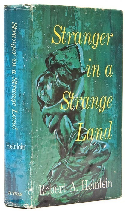 "Stranger in a Strange Land Heinlein (Robert A.) New York, 1961.  First edition, signed by the author, 'C22' to base of p. 408, upper hinge weak, original cloth, damp-stained, dust-jacket, priced $4.50, damp-stained at base, spine faded, rubbed, 8vo,   ———————————————-""Smith is not a man. He is an intelligent creature with the genes and ancestry of a man, but he is not a man. He's more a Martian than a man. Until we came along he had never laid eyes on a human being. He thinks like a Martian, he feels like a Martian. He's been brought up by a race which has nothing in common with us. Why, they don't even have sex. Smith has never laid eyes on a woman — still hasn't if my orders have been carried out. He's a man by ancestry, a Martian by environment."""
