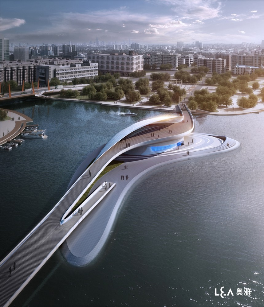 cwnl:  Wuxi Xidong Park: Artificial Island-Bridge Hybrid L&A Design Group has developed an exciting contemporary bridge design as an architectural highlight of Wuxi Xidong Park, located in Jiangsu province, China. The bridge is planned to be the main connection between the north and south foreshores of the parks lake and allows visitors access to a small island destination that commands views over the water as well as café facilities and pocket gardens. Interesting tidbits: The important position, jutting out over the central water body, encouraged a dynamic design response. The design team has envisioned a signature iconic structure that is attractive, has a flowing modern form expressing the importance of Wuxi's relationship with water and is functional in its connections to the island, foreshores and allowing boats to pass underneath its elevation.