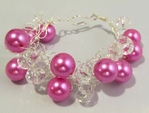 Gorgeous Pink and Crystal Bracelet! If you LOVE Pink, you will love this bracelet! Perfect Christmas gift! Available at http://etsy.com/shop/Lalunacreations