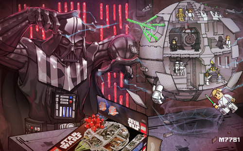 justinrampage:  Vader makes putting the LEGO Death Star together look too damn easy in Marco D'Alfonso's hilarious new fan art illustration. Related Rampages: Deadpool: Get Rich Or Die Tryin'  (More) Darth Vader N' LEGO by Marco D'Alfonso (Tumblr) (deviantART) (Twitter)