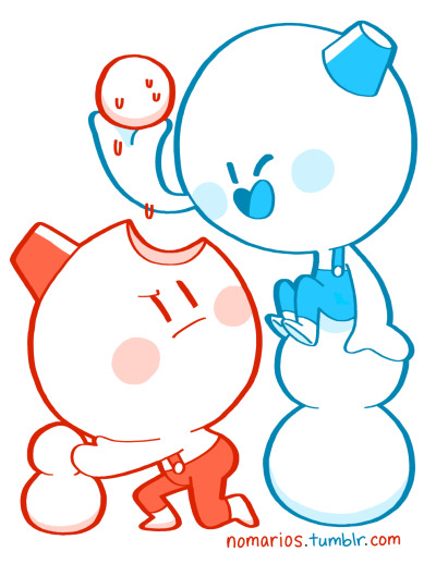 Tom and Nick, Snow Bros, Arcade Great game, but I don't get why these cute snowmen and their friends always look like fat ugly babymen in their character portraits. BUY A PRINT OF THESE CHARACTERS!