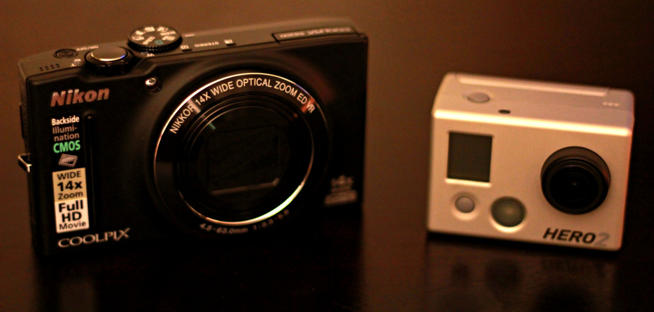 New editions to the photography/video arsenal. Got the coolpix s8200 today, with the GoPro HD Hero 2 I got a few days ago.