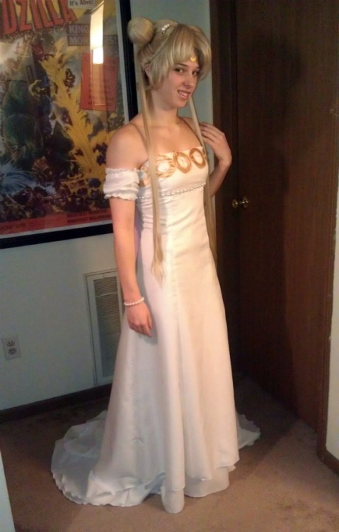 Princess Serenity Complete! (well minus the moon for my forehead using a foamie for now going to resin cast my moon once I get to the store this weekend.) Dress made from Butterick pattern B5325. It was altered slightly. Fabric used from JoAnn's Casa collection I can't specifically remember what type it was. ^_^; Gold circles were satin stitched and made from gold satin. I also attached invisable straps just incase I like feeling comfortable in my cosplays. Arm sleeves are made from the same fabric as the dress. I scalloped the tops and bottoms of them to give them a little bit of a design.  Wig is from Arda Wigs. It is a Chibiin Ash Blonde with the pigtails stubbed and the bangs styled by myself. I made the odengos from 3in styrofoam balls with wefts wrapped around them. The wefts for the pigtails were cut from a long ash blonde ponytail clip I bought since Arda didn't have wefts at the time so I would have a perfect match.