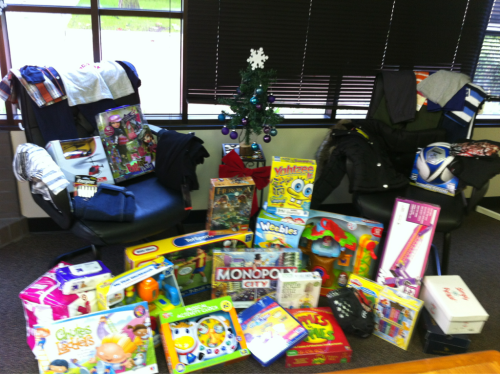 "Good day today! My office ""adopted"" 9 low-income children for the holidays. We were able to get every single item on their wish lists.  It's the little things. :-)"