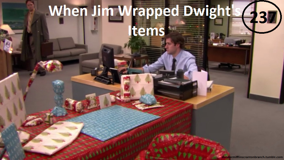 "dundermifflinscrantonbranch:  Great Things About The Office - #237 - Dwight's Gift-Wrapped Stuff ""Merry Christmas, Dwight."" -Jim"