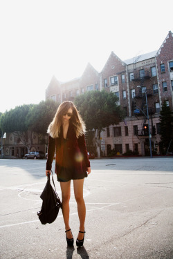 Theory blazer, vintage slipdress, Alexander Wang backpack, Marni heels Some of my favorite brands all in one picture, i love it