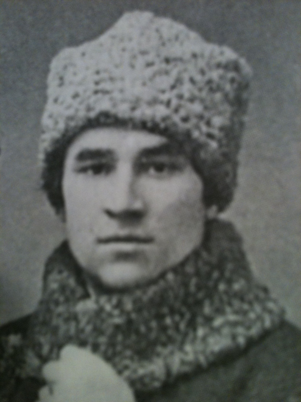 Mirsaid Sultan Galiev, c. 1919. Communist, warrior, and wouldn't you know it, a poet. Executed by Stalin in 1940 for promoting Muslim ideology within communism, he remained a passionate Bolshevik:   The love for my people, which lies inherently inside me, draws me to them. I go to them not with a goal to betray our nation, not in order to drink its blood. No! No! I go there because with my whole spirit I believe in the rightness of the Bolsheviks' cause. I know this; it is my conviction. Thus, nothing will remove it from my soul.  Hot.  Submitted by Dana