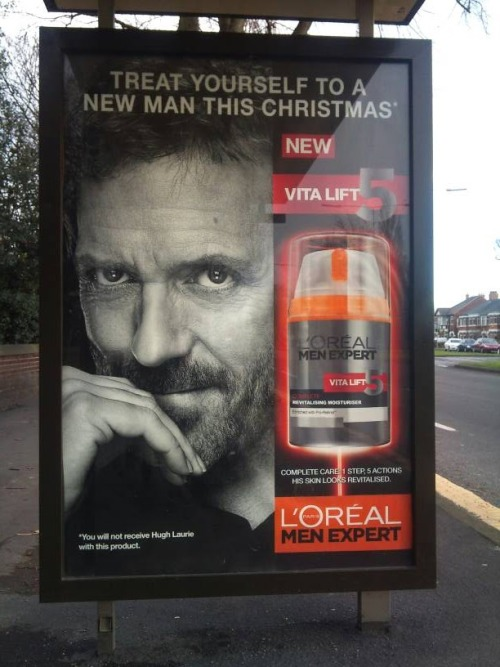 myhipsarepathologicalliars:   *You will not receive Hugh Laurie with this product.  GOD DAMMIT L'OREAL