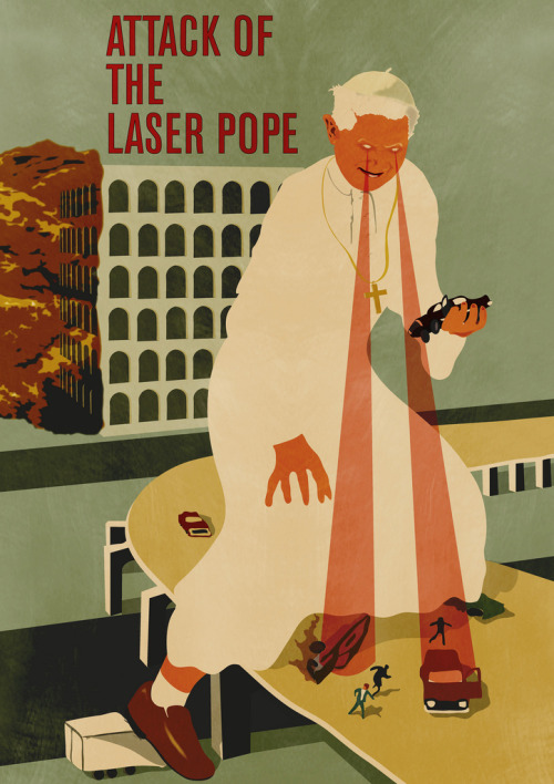 heyoscarwilde:  Laser Pope! illustration by Giordano Poloni :: via behance.net