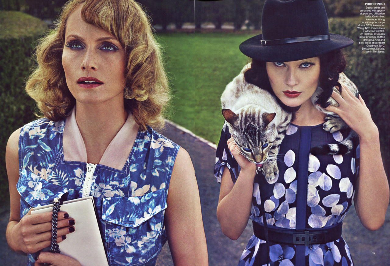 bohemea:  Amber Valletta & Shalom Harlow: Vice Versa - Vogue by Steven Klein, January 2012