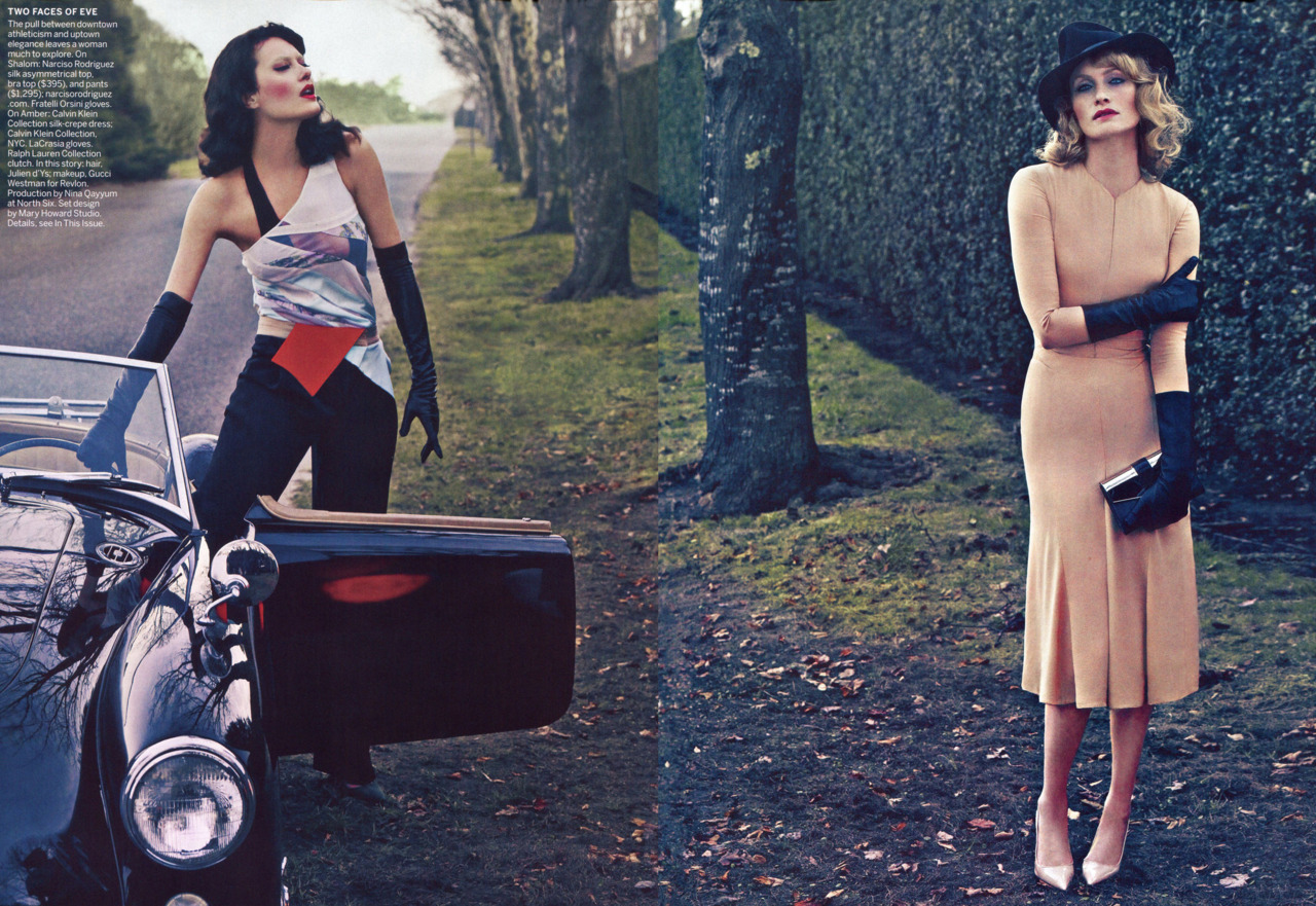 bohemea:  Shalom Harlow & Amber Valletta: Vice Versa - Vogue by Steven Klein, January 2012