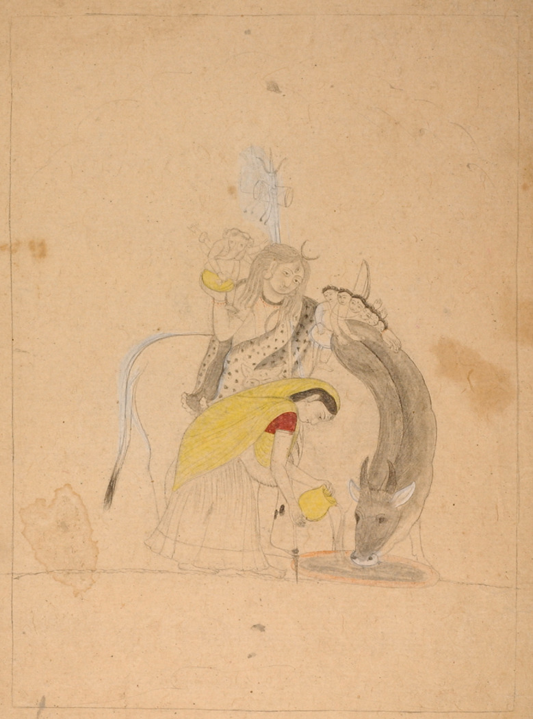 Shiva and his family.  Pahari, Kangra; 19th century (?). Via hurstgallery