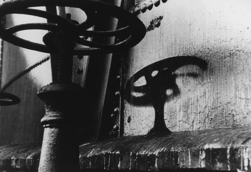 """The shadow of a handle on a gasometer left an imprint after the August 6, 1945 atomic bomb explosion, two kilometers away from the hypocenter in Hiroshima."""