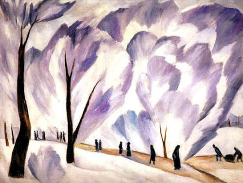 "Natalia Goncharova, ""Frost,"" 1910. Artist: Natalia Goncharova Year: n/a Description: Frost. 1910-1911. Oil on canvas, 101x132 cm. The Russian Museum, St.Petersburg. (via Art   Culture)"