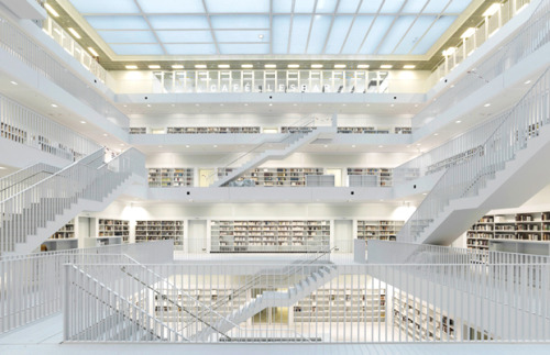 This is quite a library.  (And those are quite a lot of stairs!) The New Stuttgart Library, designed by Li Architects (via Let there be light! | Architecture | Agenda | Phaidon)