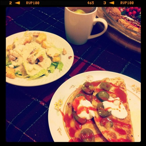 Quesadillas, Caesar Salad & Tea. #Dinner #Food (Taken with instagram)