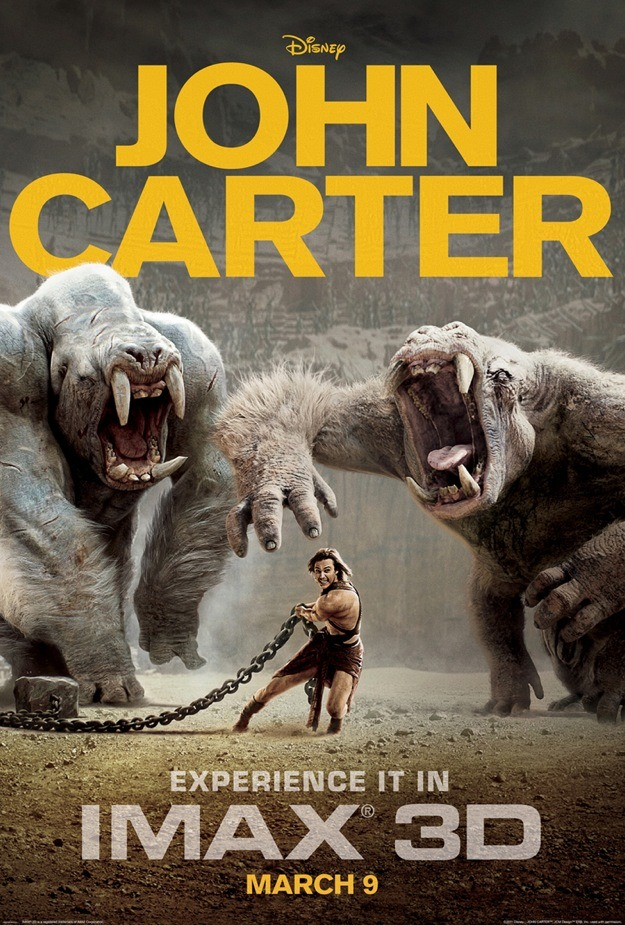This is the IMAX poster for super anticipated (by me) John Carter, based on the pulp series written by Edgar Rice Burrows pretty much a hundred years ago. I like it, it's suitably badass, but I'm kind of disapointed that we aren't seeing painted poster for this movie. There has been so much John Carter artwork over the years and so much of it is super awesome. Click on the poster above to see an example of what I'm  talking about. See? That's from legendary illustrator Frank Frazetta. The final official John Carter poster would be so perfect if it was done as a send up to Frazetta's paintings!