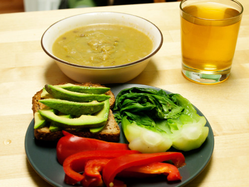 Dinner 1 1/2 cups split pea soup with barley: 180 calories Slice of whole grain bread: 70 calories 1/2 avocado: 80 calories Steamed red bell pepper: 15 calories Steamed baby bok choy: 10 calories Green tea Total:  355 calories  Snack 10 almonds: 70 calories Day Total: ~1,500 calories