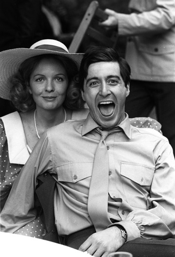julimrc:  thenewmanhattanite:  Diane Keaton and Al Pacino on the set of The Godfather.   Unos copados.