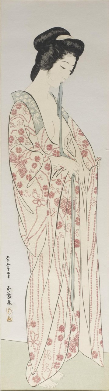 Hashiguchi Goyo (Japanese, 1st quarter 20th century)   [+] Woman Dressing in a Long Undergarment link