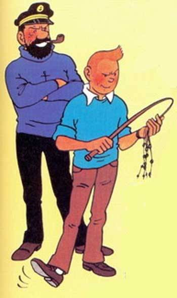 "… am I the only one who thinks this original drawing by Hergé looks really kinky? Taken out of context, that is. It's part of the cover of a small 16-page booklet that Hergé did - a documentation about how the comics are drawn, from sketched page to finished work:  Link to the full image The title means ""Fifty years of real fun work"", and of course you can also read it as ""Fifty years of real gay work"" :D"