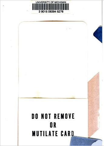 "theartofgooglebooks:  Card folder reads ""Do not remove or mutilate card."" Card removed (and potentially mutilated). From the back matter of The Windy Hill by Cornelia Meigs (1921)."