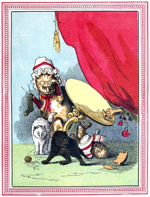 oldbookillustrations:  The kittens are naughty. From Three little kittens, by Robert Michael Ballantyne, London, New York, 1859. (Source: archive.org)