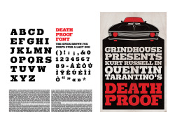 """Death Proof"" movie collector edition (FR, ES, EN)Font design, poster and dvd packaging."