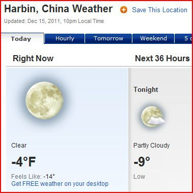 Terrified of my upcoming trip to Harbin.