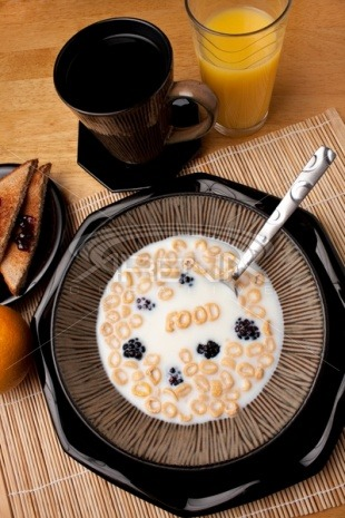 yummynummers:  Breakfast Cereal words made with alphabits :)