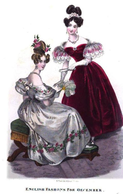 Royal Ladies' Magazine, December 1832.  The lushness of that red gown is magnificent (and she has a tiara!)