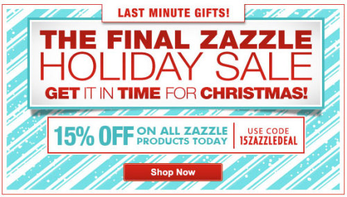 The Final Holiday Sale this year @Zazzle 15% OFF on all Zazzle Products Today. Use Code: 15ZAZZLEDEAL at checkout. http://www.zazzle.com/detourdesignables