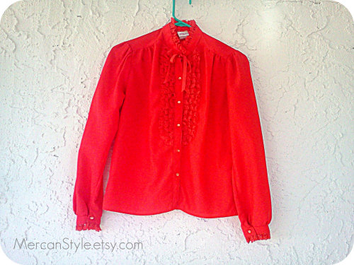 Vintage Red Ruffled Tuxedo Style Shirt 34 by Mercanstyle2 http://etsy.me/sKSHKy