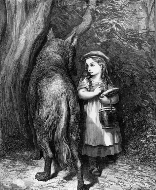 "Gustave Doré - Illustration from Little Red Riding Hood by Charles Perrault, 1870 ""There are two ways of walking through a wood. The first is to try one or several routes (so as to get out of the wood as fast as possible, say, or to reach the house of grandmother, Tom Thumb, or Hansel and Gretel); the second is to walk so as to discover what the wood is like and find out why some paths are accessible and others are not."" — Umberto Eco, Six Walks in the Fictional Woods Via asiancha"