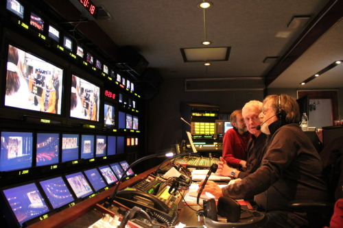 LAST NIGHT AT LINCOLN CENTER: Inside of the Live From Lincoln Center truck, crew members worked on the historic live national broadcast of the New York City Ballet's performance of George Balanchine's The Nutcracker, which was hosted by Chelsea Clinton on PBS.